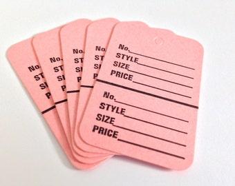 Pink Garment tags - junk journaling tags - tuck spots