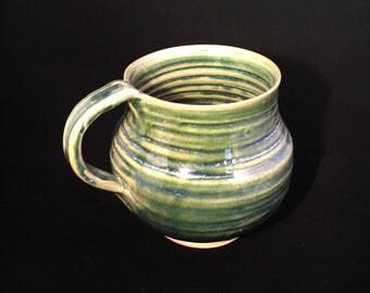 large mug cup green  coffee cup stoneware