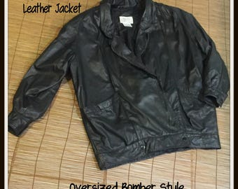 80's Oversized Leather Bomber Jacket Nordstroms Small Medium