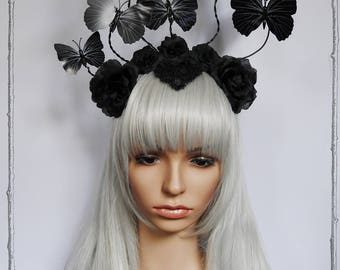 Nocturnal Butterfly Headpiece  ( Goth, Burlesque, Roses )