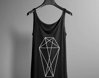 Geometric Coffin Tank Top - Occult Tank - Occult Print Graphic Tank - Graphic Tee - Graphic Tank Top - Occult Shirt