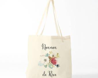Dreamy Nanny, custom tote bag, gift nanny, gift thank you, custom bag, write what you like !