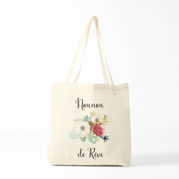 Dreamy Nanny, custom tote bag, gift nanny, gift thank you, custom bag, write what you like !