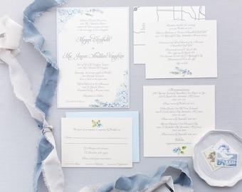 SAMPLE Formal Elegant Grey Silver Light Blue Hydrangea Wedding Invitation with Inserts & Map