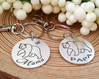 Mama & Papa Bear Couples Engraved Key Chains   Your Cubs Names Engraved on the Backside of both key chains