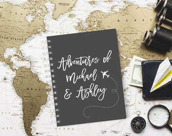 Travel Gift for Couple, Personalised Travel Journal, Adventures Scrapbook, Adventures for Couple, Design 002