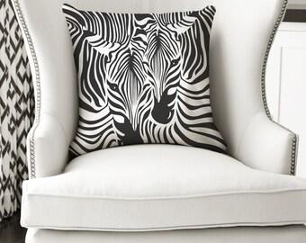 18x18 Zebra Pillow, Black and White Décor, Zebras, African Animals, Nursery Decor, Kids, Throw Pillow, Decorative Pillow, Animal Pillow