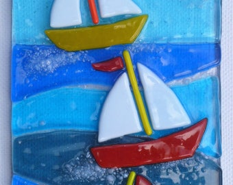 Sailing Boats, fused glass art picture