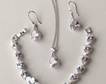 Bridesmaid necklace and earrings set, bridesmaid jewelry, silver necklace, CZ bridal necklace and earrings silver