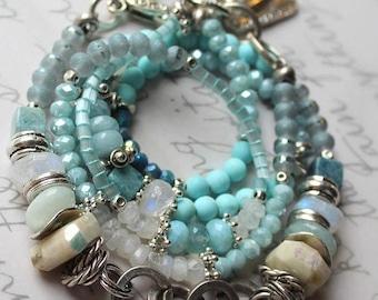 bracelet, aquamarine bracelet, rainbow moonstone bracelet, chrysocolla bracelet, heart bracelet, bohemian bracelet, southwestern bracelet