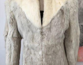 Fur Coat, Rabbit Fur Coat, Gray Fur Coat, Vintage Kamal Fur Coat, Womens Fur Coat, Gray & White Coat, Vintage Clothing, Size Large Coat