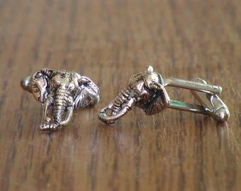 Steampunk Small Silver Elephant Head Cufflinks