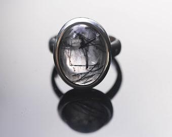 Oval Tourmalated Quartz Ring, Size 5, Black Tourmaline Ring, Black Rutile Rutilated Quartz, Black Schorl TQR17