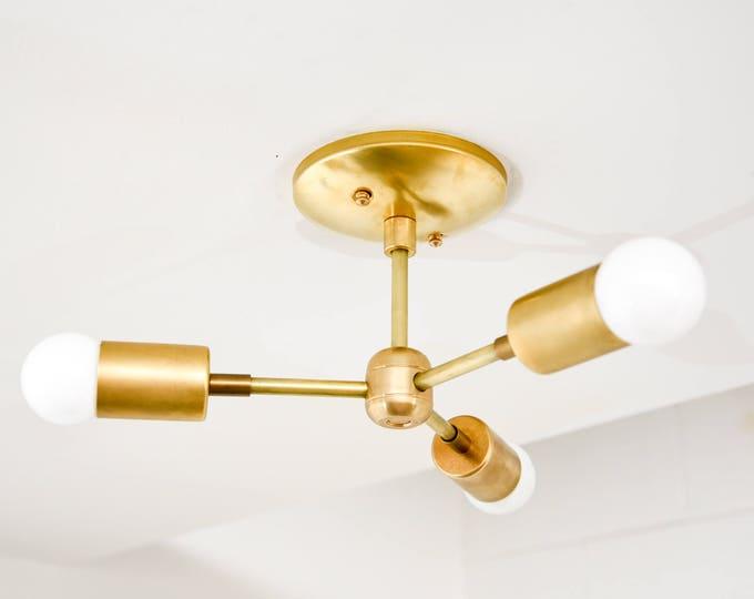 Free Shipping! Modern Chandelier Gold Raw Brass 3 Bulb Sputnik Mid Century Semi Flush Edison Industrial Light Modern UL Listed