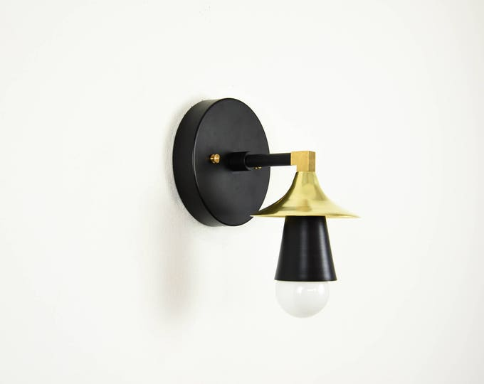 Matte Black and Brass Gold Light Wall Bathroom Sconce Cone Sphere Metal Covers Vanity Modern Mid Century Industrial