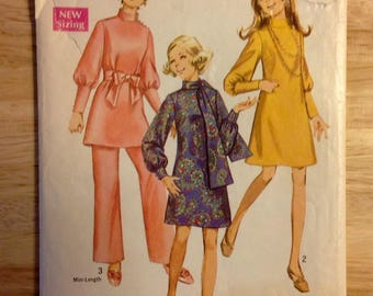 1969 Leg of mutton sleeve mod dress, tunic, pant, scarf, Simplicity 8361 miss size 16, bust 38, women's vintage sewing pattern, 1960s supply