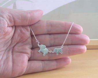 925 Silver Elephant & Baby Necklace/Elephant Necklace/Elephant Jewelry/Elephant Jewellery/Elephant Necklace/African Elephant Necklace