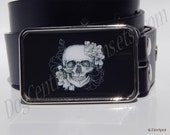 Black and White Skull Belt Buckle Choice of Buckle Finish Bronze Silver or Antique Silver Great Birthday Gift Idea