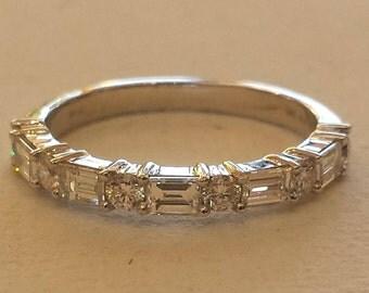 14 K white gold diamond band