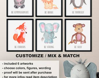 Watercolor baby animal nursery, Nursery animal wall art, Baby animal prints, Watercolor animal prints, Animal nursery decor Print/Canvas/Dig