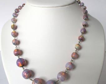 Art-Deco Venetian Opalescent Foil Necklace