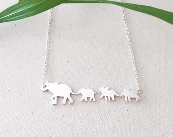 Mama Elephant and 3 Babies- Sterling Silver Elephant Necklace
