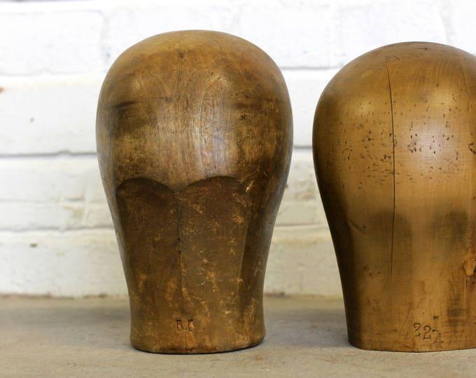 Art Deco Wooden Milliners Heads Circa 1920s