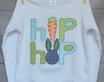 Personalized Easter Bunny Hip Hop Bunny Carrot Applique Shirt or Onesie Girl or Boy Add Skirt, Shorts, Pants, or Capris