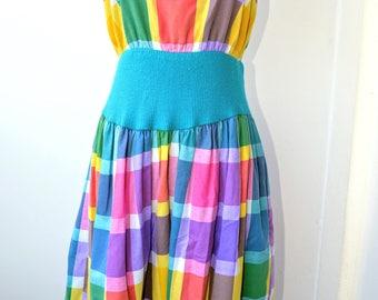 Vintage 80s Handmade Rainbow Plaid Dress - Size Small-Medium
