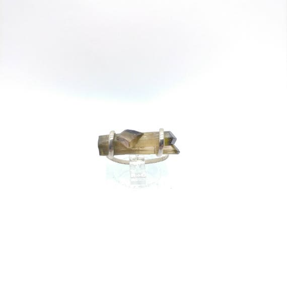 Raw Crystal Bar Ring | Handmade Gift | Sterling Silver Ring Sz 6.25 | Raw Tourmaline Ring | Raw Tourmaline Jewelry | Watermelon Tourmaline