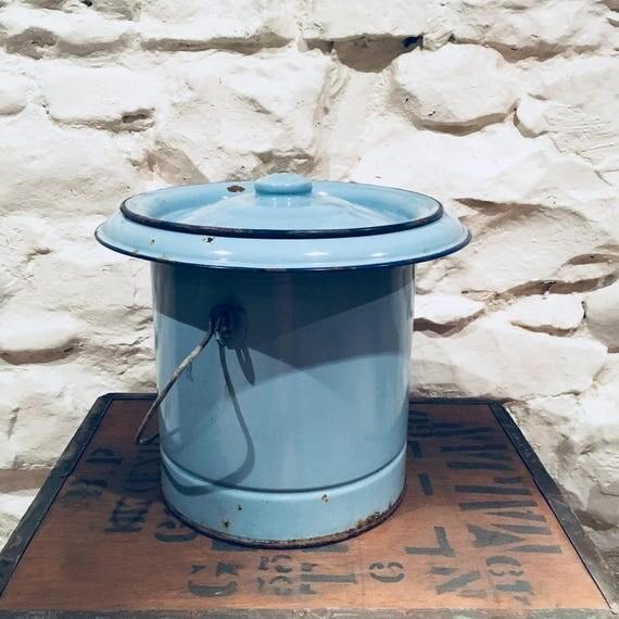 Blue Enamel Bucket Vintage Metal Storage Bin