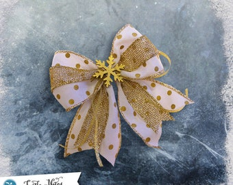 Rustic Gold Snowflake Polka-Dot Hair Bow | 3in French Barrette | Hand Crafted