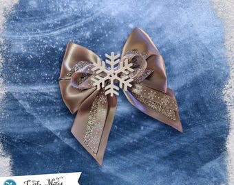 Elegant Winter Snowflake Hair Bow | 3in French Barrette | Hand Crafted