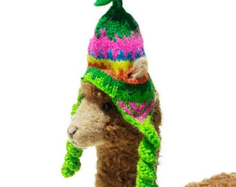 Hand Knit Alpaca Chullo for our Needle Felted Sculptures