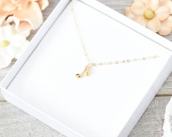 SALE! Musical Note Necklace, Gold, Silver, Music Necklace, Minimalist Necklace, Stocking Stuffer, Simple Jewelry