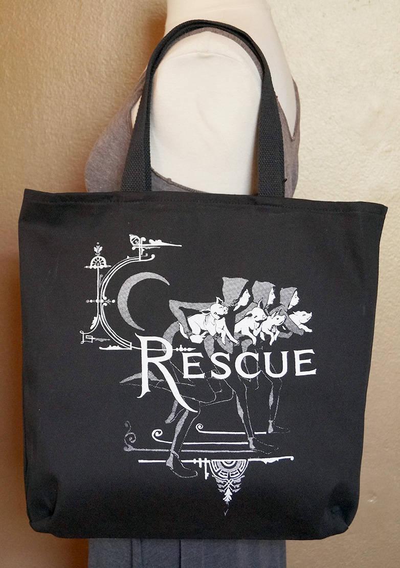 """Tote Bag """"Recue"""" White Ink on Black Cotton"""