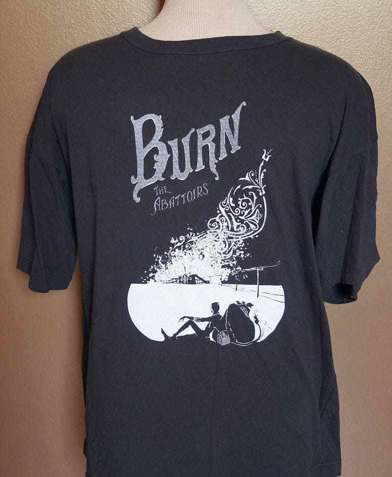 "2XL ""Burn the Abattoirs"" Tee, White Ink on Black"