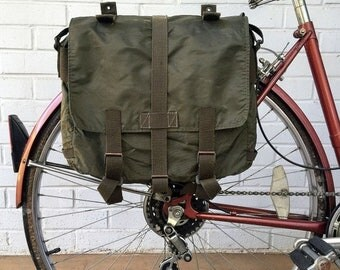 25% OFF Austrian Army Surplus Knapsack Vintage Bicycle Pannier 1980's Green