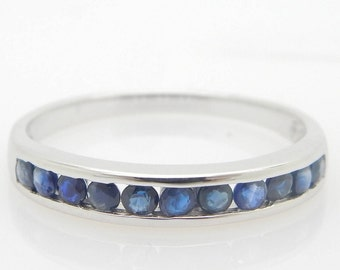Solid 14K White Gold 0.50cttw Round Blue Sapphire Wedding Band Ring Sz 7.5; sku # 3948