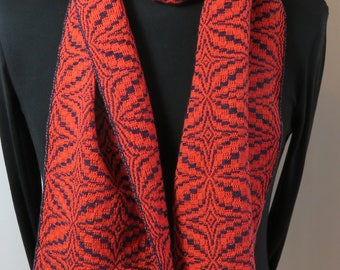 Cotton Scarf, Hand Woven Soft Cotton, Coral and Indigo Cotton Scarf, Perfect Gift, Ready to Ship