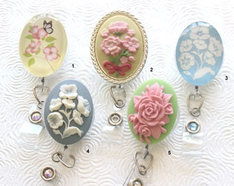 Oval Floral ID Badge Reel/Nurse/Doctor/Medical/Teacher/School/Office