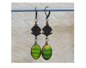 Czech glass, Chartreuse Wire wrapped drop earrings, Lime green glass, Casual Jewelry, Bridesmaids, Victorian, St. Patrick's, Handmade