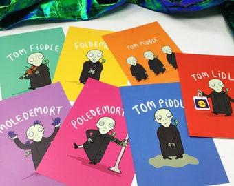 Voldemort Illustrated Postcard Pack - 7 Pack - Pun Postcards - Harry Potter Postcards
