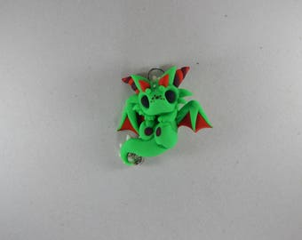 Green Dragon holding its Feet Necklace