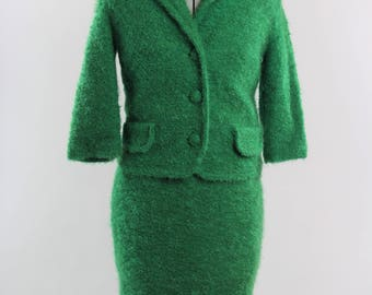 1950s/60s Vintage Shaggy Green Two Piece Suit
