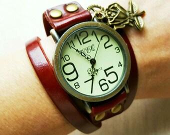 Retro Vintage Style Watch, Steampunk Watch, Long Leather Band Watch, Wrist Watch, Quartz Watch, Punk Rock Jewelry