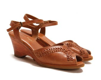 1970s Brown Leather Hide Ankle Strap Tooled Wedges- Size 6 1/2-7