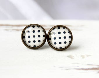 12 mm ear studs, polka dots, stud earrings, polka dots stud earrings, brown stud earrings