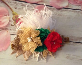 Christmas Holiday Newborn Girls Couture headband-photo prop