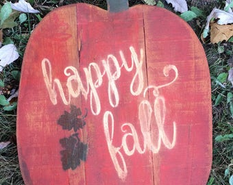 Happy Fall pumpkin made of reclaimed pallet wood and distressed rustic